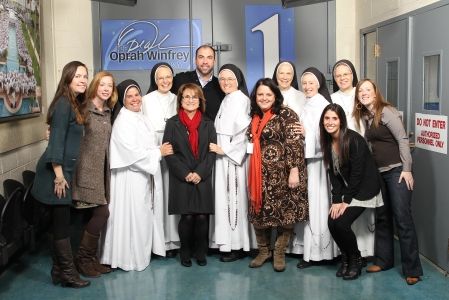 Liz Yore with the Dominican Sisters of Mother Mary of the Eucharist during their appearance on the Oprah Winfrey Show